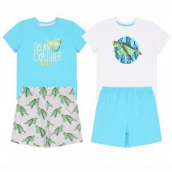 2x Błękitna piżama w żółwie, certyfikat OEKO-TEX