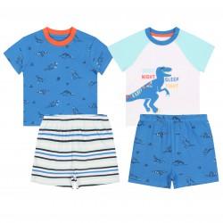 2x Niebiesko-biała piżama chłopięca w dinozaury, certyfikat OEKO-TEX