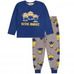 Granatowa ciepła piżama z długimi spodniami Minionki