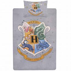 Szara zestaw pościeli 135x200cm Hogwart Harry Potter, certyfikat OEKO-TEX