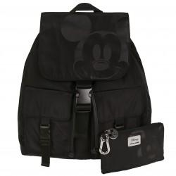 Czarny plecak z saszetką Myszka Mickey