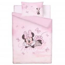 Zestaw różowej pościeli bawełnianej 135x200 cm Myszka Minnie, certyfikat OEKO TEX