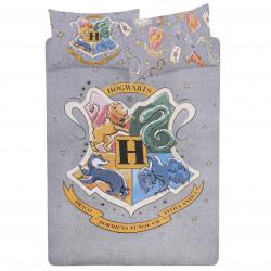 Szara zestaw pościeli 200x200cm Hogwart Harry Potter, certyfikat OEKO-TEX