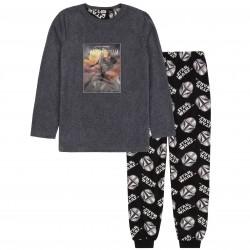 Szaro-czarna polarowa piżama