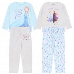 Zestaw 2x szaro-błękitna piżama z długimi spodniami ANNA I ELSA-KRAINA LODU