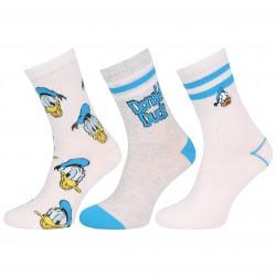 3x Biało-niebieskie, długie skarpetki Kaczor Donald