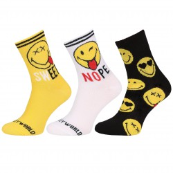 Żółto-czarne, długie skarpetki z emotikonami SMILEY WORLD
