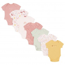 7x Baby Cotton Short Sleeves Multicolour Body Sleepers Rompers