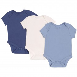 3x Short Sleeve Blue White Body Sleepers Rompers