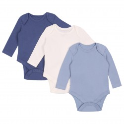 3x Baby Long Sleeve Cotton Blue White Body Sleepers Rompers