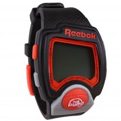 Czarno-czerwony, cyfrowy zegarek na gumowej branzolecie Reebok