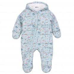 Child Baby Warm Winter Blue Flower Suit Jumpsuit