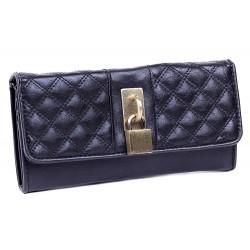 Czarny pikowany portfel, kłódka PRIMARK ATMOSPHERE