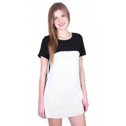 ASOS kremowo-czarna klasyczna sukienka mini